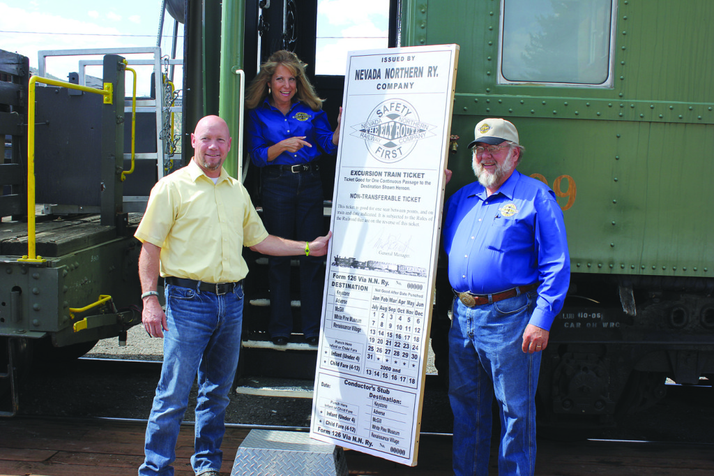 The Nevada Northern Railway and Robinson Nevada Mining Company/ KGHM are offering free train rides every Saturday in August. The time is 1 p.m. on Aug. 3, 10, 17 and 24 for a steam ride. Tickets will be given on a first come, first served basis. You can get your tickets at the NNRy at 1100 Ave. A in Ely or reserve tickets by calling 775-289-2085. L to R: Robinson Nevada Mining General Manager Cary Brunson, NNRy's Dany Feinstein and Mark Bassett. (Staff photo by Lukas Eggen)