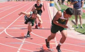 Eureka's Errol Porter, center, starts the 400 m race at the Lowry Invitational, May 2. Courtesy photo.