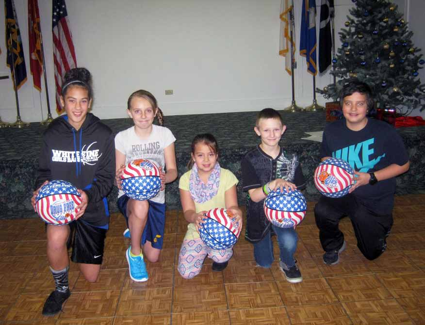 Courtesy photo Eureka's Nolan Hicks (second from right) won the Elks Hoop Shoot in Ely recently for the Boys 8-9 division, and will go on to compete at the district finals in Austin, Nev. on Jan. 30. He joins four other winners of their divisions, (from left) Eva Kingston, Kenna Van Camp, Kyrianna Thompson and Kobe Barnes.