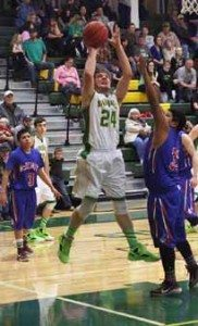 Courtesy photo Eureka senior forward Nick Gordon goes to the rack for a basket against McDermitt on Jan. 23 at the Eureka Fieldhouse. Gordon led the Vandals with 21 points as they eased to a 68-25 victory.