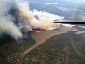 Courtesy photo An aerial view shows the Line Fire that started July 29 near Barclay in eastern Lincoln County. The blaze was expected to have been fully contained by Aug. 3.
