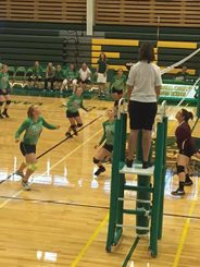 Courtesy photo -  The Eureka volleyball team won three straight against Pyramid Lake last Friday to open the season.