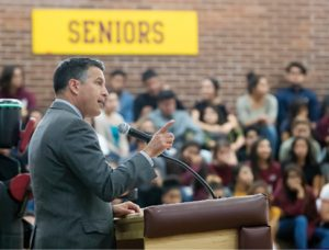 """John Byrne During a visit to Sparks High School on Monday, Gov. Brian Sandoval proclaimed the 2016-17 school year the """"Year of STEM,"""" promoting science, technology, engineering and mathematics education."""
