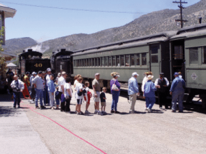 Courtesy photo - Visitors line up to board the train at the Nevada Northern Railway in Ely. The historic train recently broke the mark of 250,000 riders earlier this fall.