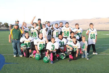 Courtesy photo- The Eureka Junior High football team finished the season undefeated this after a 20-14 win against White Pine. The parents would like to thank the coaching staff,  without Aitor, Nate, and Juan, this victory wouldn't be possible.